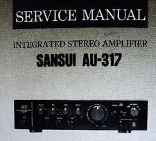 Sansui AU-317 int stéréo amp service manual inc schem diag imprimé bound anglais
