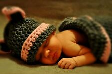 Crocheted Newborn cocoon with cat ear beabie