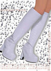GIRL GOGO 60S 70S HIPPY HIPPIE SHOE FANCY DRESS COSTUME BOOT WHITE TOPS COVERS