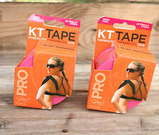 KT TAPE PRO Kinesiology Therapeutic Tape TWO 20 Pre-Cut 10-Inch Strips Hero Pink