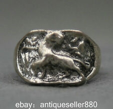 25MM China Miao Silver Folk Collection Powerful Lion (Wei) Fashion Jewelry Ring