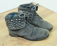 ALL SAINTS Dove Grey Suede Leather Studded Military Ankle Boots, Size 37 / UK 4
