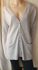 £110 THE WHITE COMPANY LIGHT GREY WOOL CASHMERE LONG SLOUCHY CARDIGAN SIZE 14/42