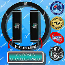 PORT ADELAIDE POWER CAR STEERING WHEEL COVER + SEAT BELT COVERS, OFFICIALS AFL!