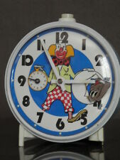 vintage ALARM CLOCK clown circus MOVING ACTION jaz Smiths Automaton mechanical