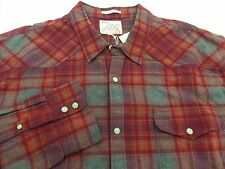 New Lucky Brand Western Pearl Snap Flannel Plaid Shirt Mens Size XL