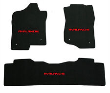 NEW! Black Floor Mats 2007-2010  Chevy Avalanche with embroidered logo Red set 3