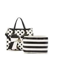 Betsey Johnson Black & White Polka Dot Bag in Bag Tote & Pouch BB16935 ~NWT!