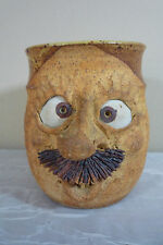 Art Pottery Stoneware Funny Face Mug w/ Mustache - Signed Alan Brummell Kansas