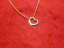 14KT  GOLD EP 20 INCH 1MM TWISTED NUGGET DESIGNER  NECKLACE WITH FLOATING HEART