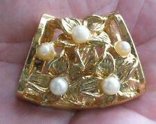 Serre Passe Foulard Bijou Vintage Art Déco couleur or et perle blanche