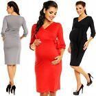 Zeta Ville Women's Maternity Wrap Dress Nursing V-neck Belt Empire Waist - 251c