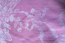 PRETTY ANTIQUE FRENCH ROSE PINK FLOWER BASKETS BOWS REVERSIBLE FABRIC 5X6FT