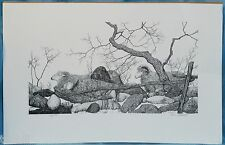 Signed Limited Edition Print Gene Matras Sheep - Rocks Trees Fence Farm Pastoral