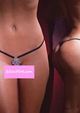 SEXY BLACK EXTREME CROTCHLESS MICRO THONG BIKINI BOTTOM W/ JEWELS! NEW!