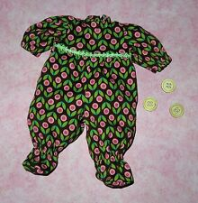 """Handmade Doll Clothes for 12"""" - 14"""" Baby Dolls - """"Buttons"""" Sleeper Play Suit"""