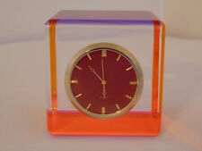 Vintage LUCITE Rainbow Orange Pink Clear Multi Color Cube Clock Paperweight