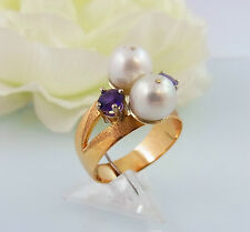 Ring Gold 585 Amethyste & Perle Gr. 53 (A1646)