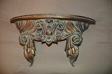 "18.5""x 9.5 Ornate Regal Rustic Bronze-Tone Resin Wall Display Shelf w/Carved Top"