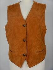 Vintage femme brun doré en cuir souple daim gilet débardeur taille uk 18