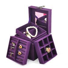 Suede Velvet Trinket Makeup Beauty Travel Vintage Box Case Purple DI
