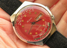 Rare russian RAKETA watch Perpetual Calendar. Awesome RED Dial *SERVICED* MINTY