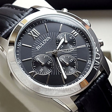 BULOVA MENS CHRONOGRAPH WATCH STAINLESS STEEL BLACK LEATHER NEW RRP £199