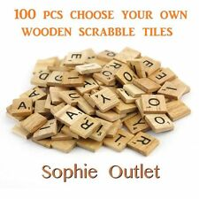 100 CHOOSE YOUR OWN Wooden Scrabble Tiles Letters Crafts Board Game Toy Gift