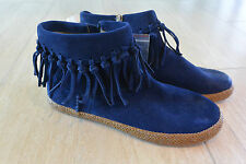 NEW UGG Women's Shenendoah Suede Fringe Ankle Booties in Navy Size 7