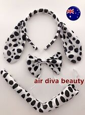 Women Kid Child Dalmatian Dot Dog Costume Ear tail Party Hair head band Prop set