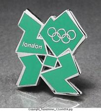 OLYMPIC PINS 2012 LONDON ENGLAND UK CUT OUT LOGO GREEN SILVER
