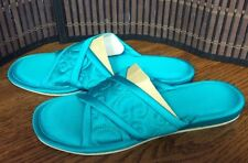 Ladies bedroom slippers size small 5 to 6 turquoise-green machine washable F31