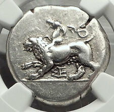 SIKYON 431BC NGC Certified Stater Ancient Silver Greek Coin CHIMERA Dove i59092