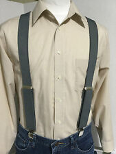 "New, Men's, Medium Gray Large, Adj. 1.5""  Suspenders / Braces,  Made in the USA"
