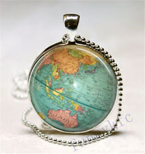 Vintage world map Cabochon Silver plated Glass Ball Chain Pendant Necklace ds3