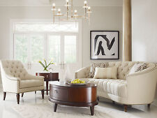 ELEGANCE - Mid Century Design Ivory Chenille Sofa Couch & Chair Set Living Room