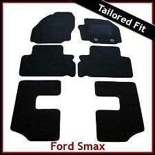 Ford S-Max Mk1 7-Seater 2012-2015 Round Eyelets Tailored Carpet Floor Mats BLACK