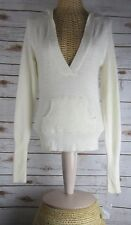 NEW Lucidity Womens Ivory Angora Lambswool LS Hooded Sweater Pockets Small S