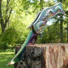 "8"" DRAGON RAINBOW Spring Assisted Open Blade FOLDING POCKET KNIFE Fade Switch"