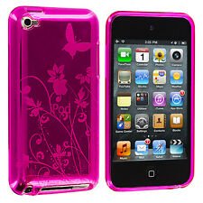 Hot Pink Butterfly Flower TPU Case Cover Accessory for iPod Touch 4th Gen 4G 4