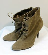 NEW Women's Calvin Klein Ankle Boot Heel Shoe Suede Leather Green Taupe 6M