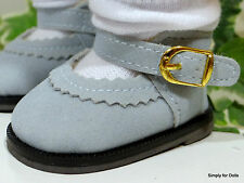 """**SALE** LT DUSTY BLUE Suede Mary Janes DOLL SHOES fits 18"""" AMERICAN GIRL DOLL"""