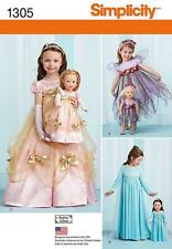 SIMPLICITY SEWING PATTERN CHILD'S ICE FAIRY PRICESS COSTUME & DOLL CLOTHES  1305
