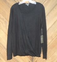 NEW Vince Camuto Knit Top Black Boatneck Lightweight Cotton Sweater NWT $89 sz L