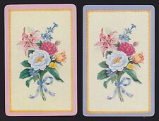 2 Single VINTAGE Swap/Playing Cards FLOWERS MIXED BOUQUET ROSE LILIUM TULIP