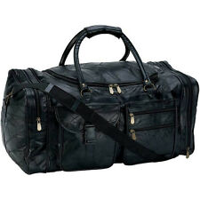 "Genuine Leather 25"" Carry-On Duffle Bag, Black Overnight Luggage Suitcase Tote"