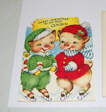Vintage Die-Cut Christmas Greeting Card Pigs Cousins Red Flocked Outfit Unused