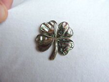 Vintage Alpaca Mexico Abalone Four Leaf Clover Pin Brooch Jewelry (ss794)