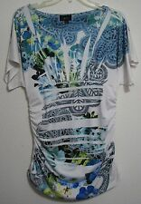 IZ Byer XL Empire Sublimation Ruched Stretch Top Tunic Pretty Blue Green Floral