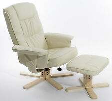 Charles Jacobs Executive Recliner CHAIR Swivel Armchair with Footstool in Cream